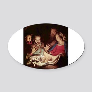 Nativity by Gerard van Honthorst Oval Car Magnet