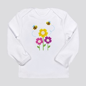 Bees with Flowers Long Sleeve T-Shirt