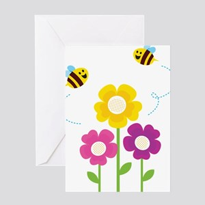 Bees with Flowers Greeting Cards