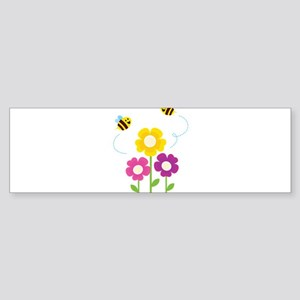 Bees with Flowers Bumper Sticker