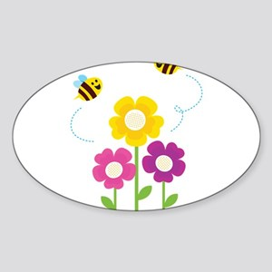 Bees with Flowers Sticker