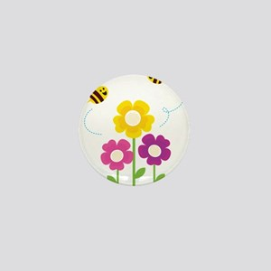 Bees with Flowers Mini Button