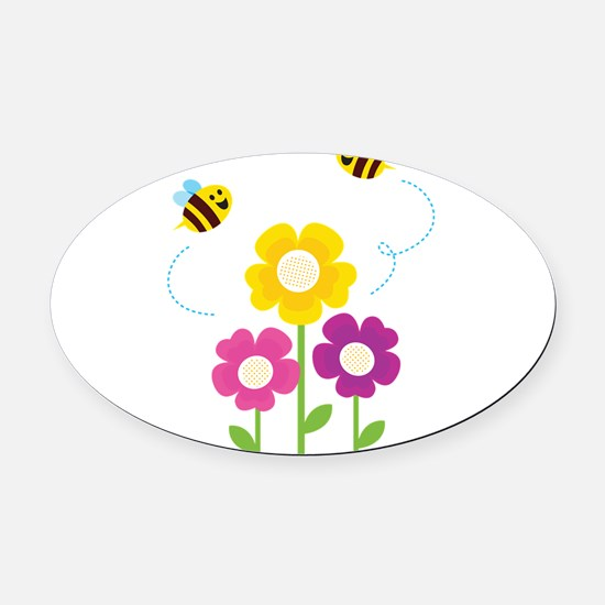 Bees with Flowers Oval Car Magnet