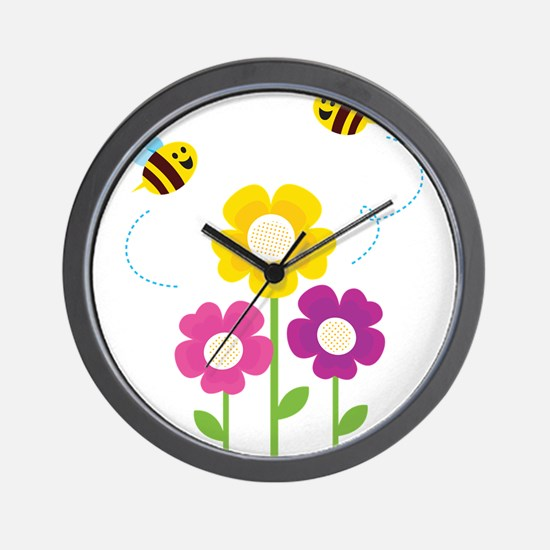 Bees with Flowers Wall Clock