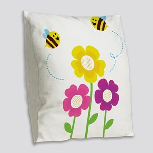Bees with Flowers Burlap Throw Pillow
