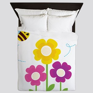 Bees with Flowers Queen Duvet