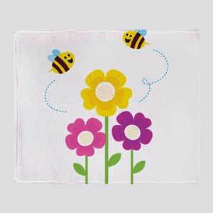 Bees with Flowers Throw Blanket