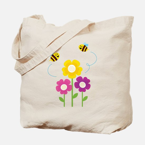 Bees with Flowers Tote Bag