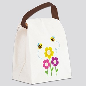 Bees with Flowers Canvas Lunch Bag
