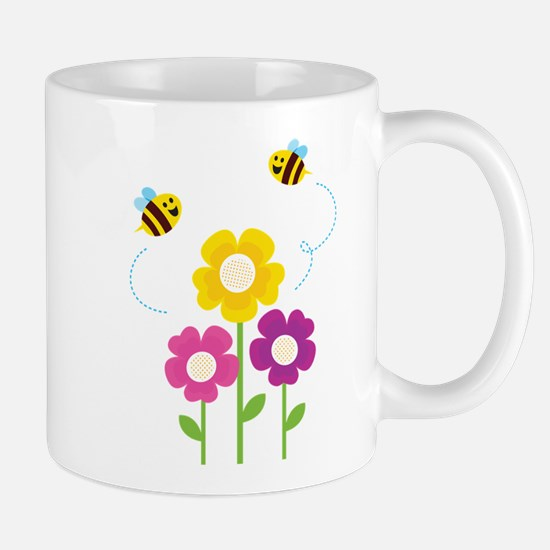 Bees with Flowers Mugs