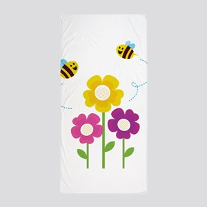 Bees with Flowers Beach Towel