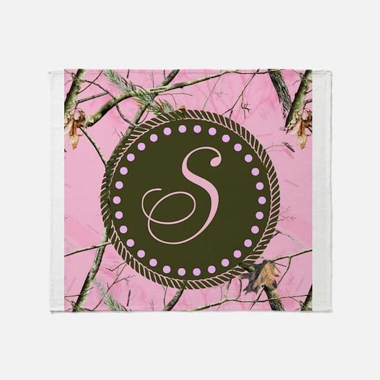 Pink woodland camo Custom Throw Blanket
