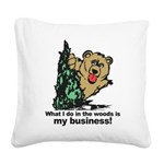 The Pooping Bear Square Canvas Pillow