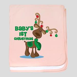 Baby's 1st Christmas reindeer baby blanket