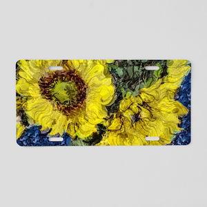 Impressionistic Sunflowers Aluminum License Plate