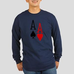 Pocket Aces Poker Long Sleeve Dark T-Shirt