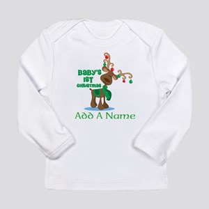 Personalized Babys 1st Christmas reindeer Long Sle