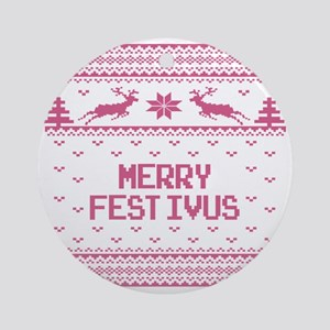 Merry FESTIVUS™ Holiday Ugly Sweater Round Ornamen