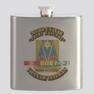 Army - 303rd USASA Bn w SVC Ribbon Flask