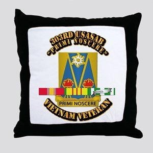 Army - 303rd USASA Bn w SVC Ribbon Throw Pillow