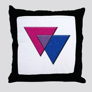Triangles Symbol - Bisexual Pride Flag Throw Pillo