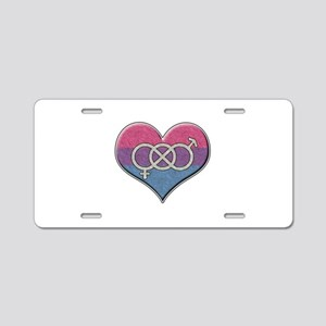 Bisexual Pride Heart with Gender Knot Aluminum Lic