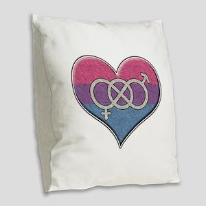 Bisexual Pride Heart with Gender Knot Burlap Throw