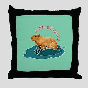 I Love Capybaras Throw Pillow