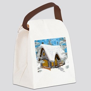 Winter Cottage Canvas Lunch Bag