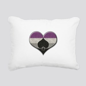 Asexual Pride Heart with Spade Rectangular Canvas
