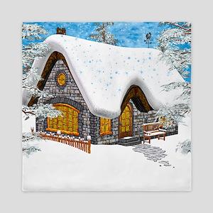 Winter Cottage Queen Duvet