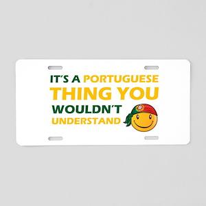 Portuguese smiley designs Aluminum License Plate