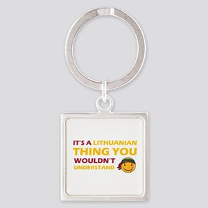 Lithuanian smiley designs Square Keychain