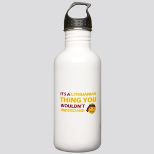 Lithuanian smiley designs Stainless Water Bottle 1