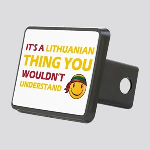 Lithuanian smiley designs Rectangular Hitch Cover