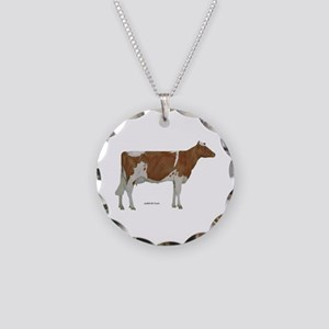 Golden Guernsey cow Necklace Circle Charm