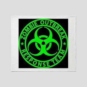 Zombie Outbreak Response Team Sign Throw Blanket