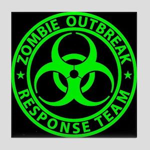 Zombie Outbreak Response Team Sign Tile Coaster
