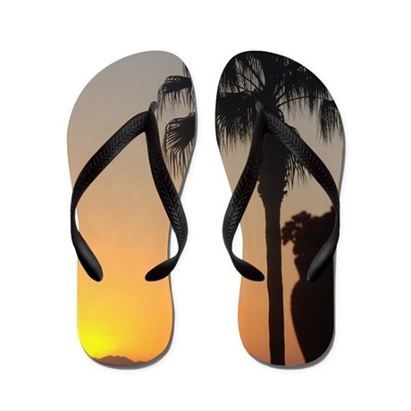 Sunset with Palm Flip Flops