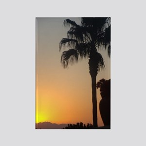 Sunset with Palm Rectangle Magnet