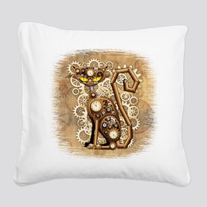 Steampunk Cat Vintage Style Square Canvas Pillow