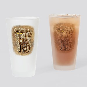 Steampunk Cat Vintage Style Drinking Glass