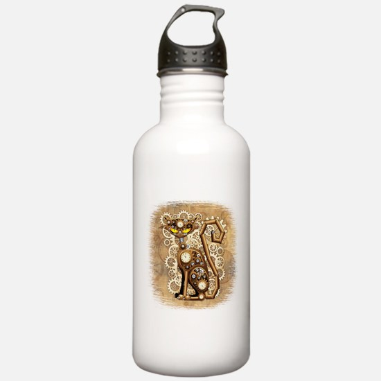 Steampunk Cat Vintage Style Water Bottle