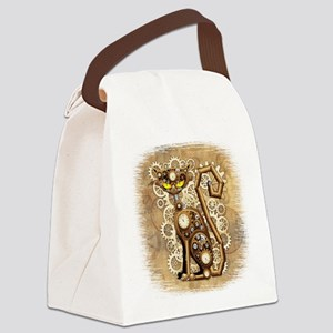Steampunk Cat Vintage Style Canvas Lunch Bag