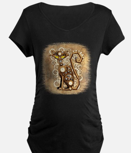 Steampunk Cat Vintage Style Maternity T-Shirt