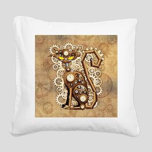 Steampunk Cat Vintage Style Square Canvas Pillow