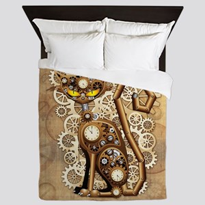 Steampunk Cat Vintage Style Queen Duvet