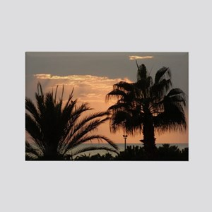 Sunset with Palms Rectangle Magnet
