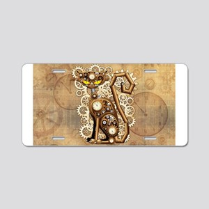 Steampunk Cat Vintage Style Aluminum License Plate