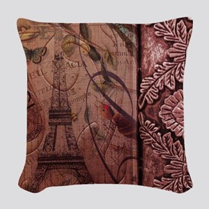 french botanical paris eiffel  Woven Throw Pillow